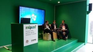 Enrico Lupi, Andrea Olivero, Dario Cartabellotta durante la presentazione di questa mattina a Expo